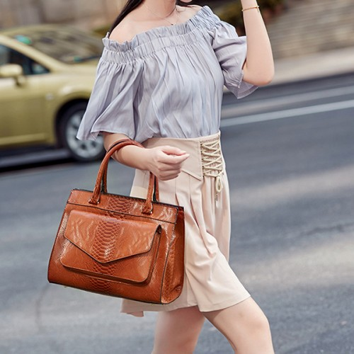 Women Snake Pattern Tote Bag Casual Large Capacity Crossbody Bag Handbag