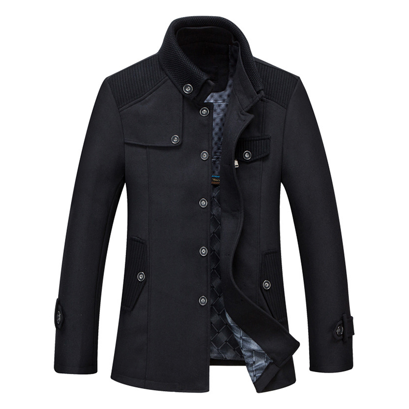 Mens Business Winter Thick Warm Stand Collar Single Breasted Woolen Coat Jacket
