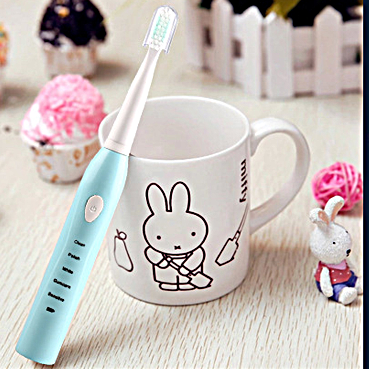 5 Modes Electric Toothbrush Mute Soft Sonic USB Rechargeable Waterproof Tooth Cleaner With 4 Brushes