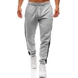 Mens Sport Hip-hop Breathable Drawstring Stitching Stripe Casual Slim Fit Pants