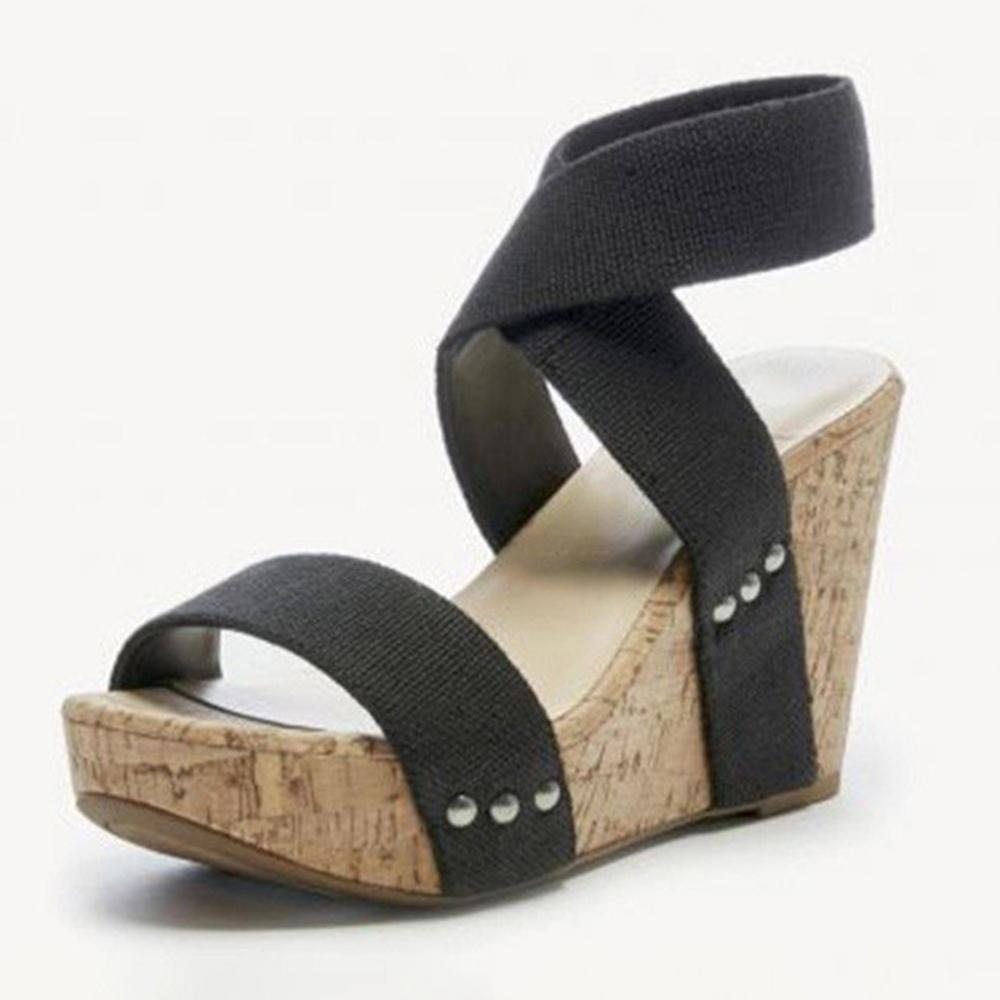 Large Size Women Peep Toe Elastic Band Cross Wedge Sandals