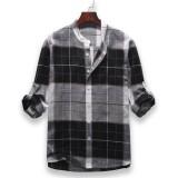 Mens Fashion Casual Plaid Stand Collar Long Sleeve Shirts