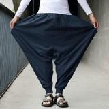 Casual Cotton Linen Solid Color Baggy Loose Harem Pants for Men