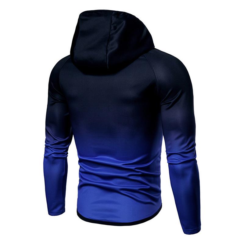 Mens Gradient Slim Fit Zipper Up Gradually Changing Color Casual Sport Hoodies Sweatshirts