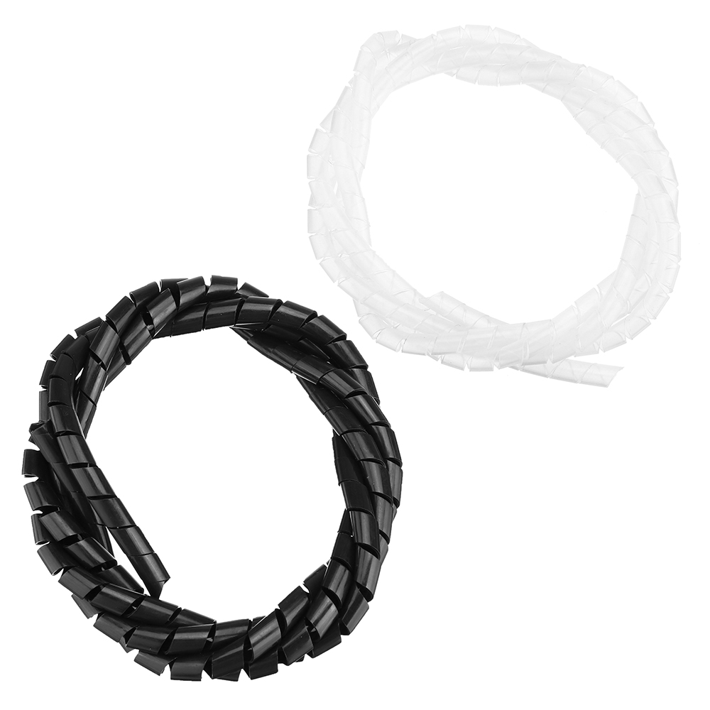 6mm Outside Dia 6M PE Polyethylene Spiral Cable Wire Wrap Tube Black