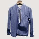 Mens Fashion Cotton Vintage Pure Color Long Sleeve Single-breasted Casual Shirts