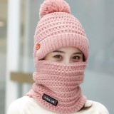 Women Winter Warm Plush Thicken Knit Beanie Hat with Scarf Earmuffs Ski Skull Cap