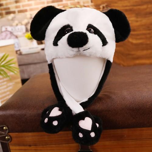 Panda Ear Hat 30CM Can Move Airbag Stuffed Plush Gift Record Video Dance Toy Neckerchief