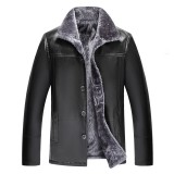 Mens Winter Thick Casual Turn Down Collar Black Faux Leather Jacket