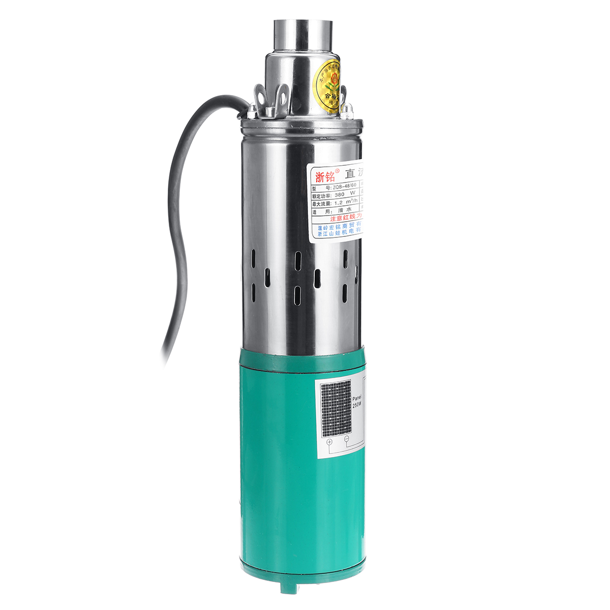 380W 48V/60V Deep Well Pump 1.2m/h Stainless Steel Submersible Pump Deep for Industrial Home Use