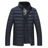 Mens Winter Thick Warm Stand Collar Casual Padded Jacket