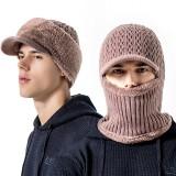Men Thicken Siamese Knit Beanie Hat Scarf Winter Windproof Earmuffs Ski Cap