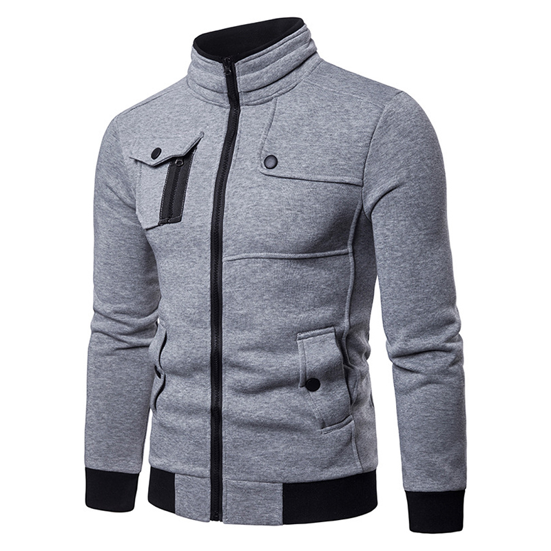 Mens Casual  Multifunction Pockets Zipper Thick Stitching Top Long Sleeve Solid Color Coats