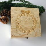 Christmas Decorations EVE BOX Christmas Wooden Carving Gift Box Creative Xmas Tree Box