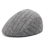 S/M/L Stripe Dad Casual Middle-Aged Beret Hat Comfortable Linen Old Man Forward Caps