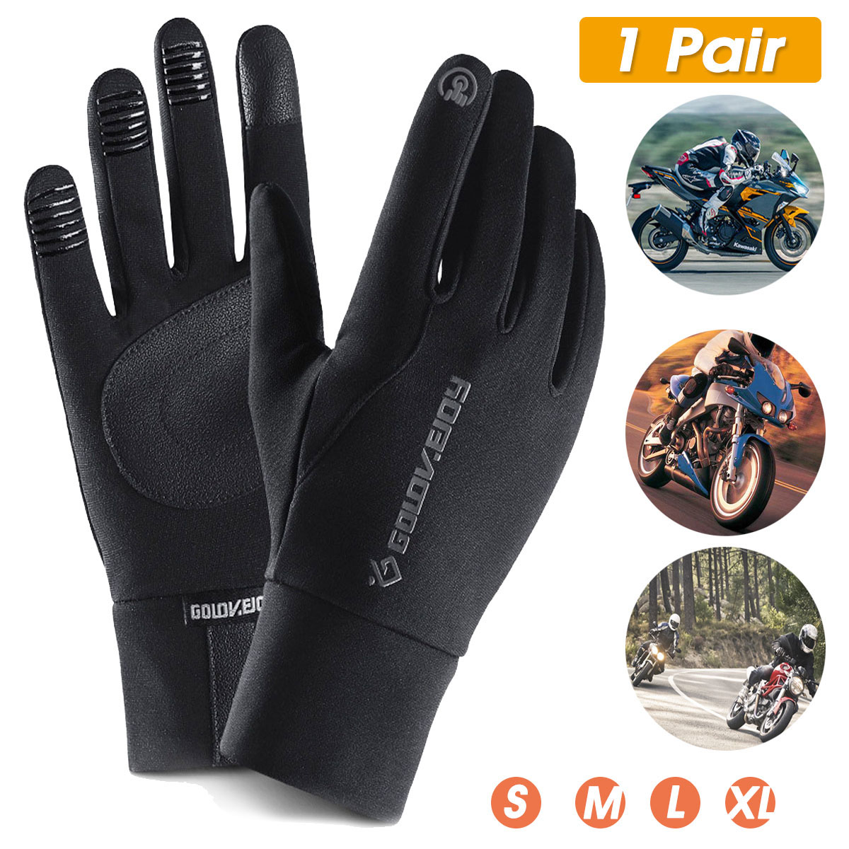 Touch Screen Gloves Motorcycle Scooter Waterproof Winter Bike Fleece Lined