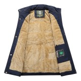 Mens Outdoor Water Repellent Thick Fleece Multi Function Pockets Solid Color Vest