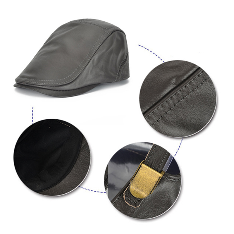 Middle-Aged Winter Warm First Layer Cowhide Adjustable Beret Caps Outdoor Adjustable Newsboy Hat
