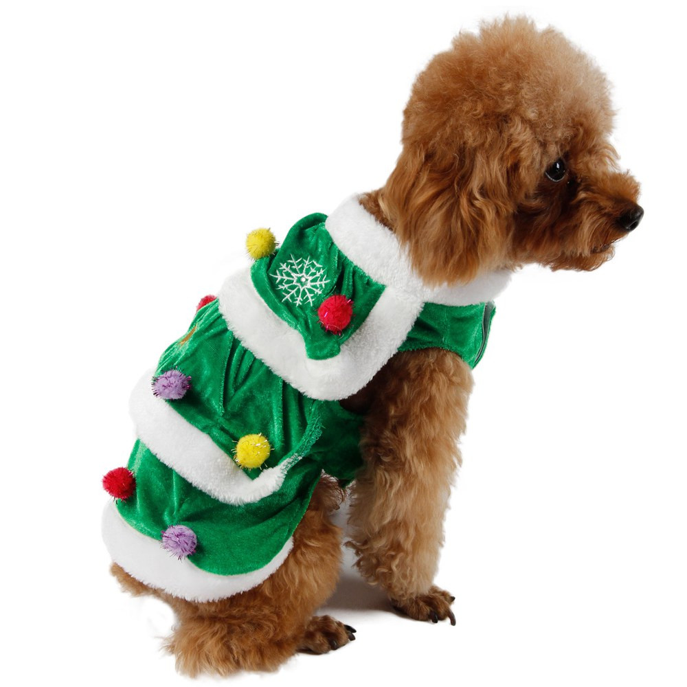 Christmas Festival Tree Pet Dog Cat Coat Puppy Warm Clothes Costumes Apparel Dress