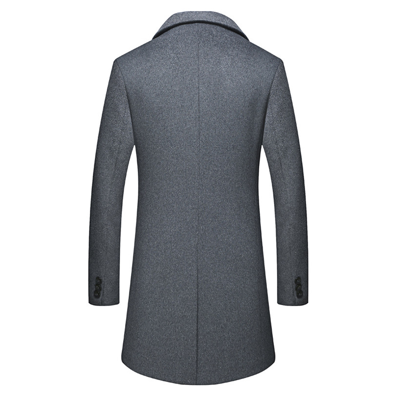 Men Winter Warm Cotton Padded Slim Mid Long Coat Suit Collar Solid Color Trench Coat