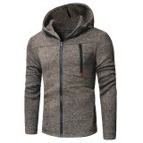 Mens Casual Stitching Zipper Design Sweatshirts Long Sleeve Cotton Hoodies