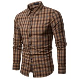 Mens Casual Business Plaid Turndown Long Sleeve Quality Slim Shirts