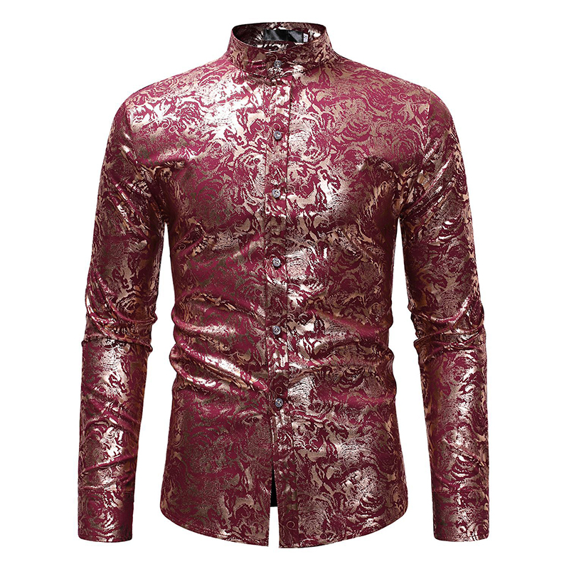 Ethnic Style Mens Casual Stand Collar Slim Fit Hot Stamping Base Print Long Sleeve Shirts