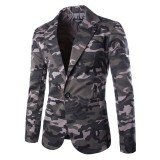 Mens Casual Fashion Camouflage Printing Single Breasted Slim Long Sleeve Suits