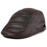 L/XL/2XL Zipper Decoration Winter First Layer Sheepskin Adjustable Beret Hat Adjustable Newsboy Caps
