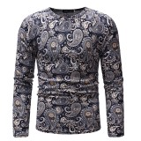 Mens Cashew Flowers Printing Crew Neck Ethnic Style Long Sleeve Slim Fit Casual T-shirts