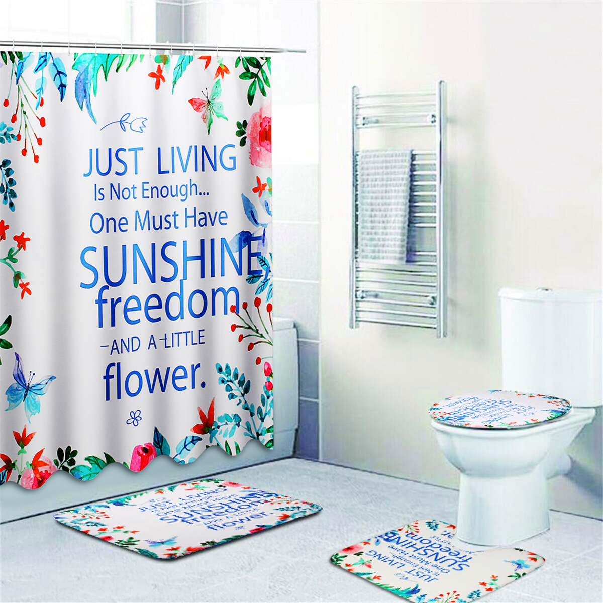 Bathroom Shower Curtain Toilet Cover