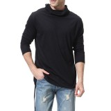 Mens Casual High Collar Irregular Hem Long Sleeve Solid Color Slim T-Shirts