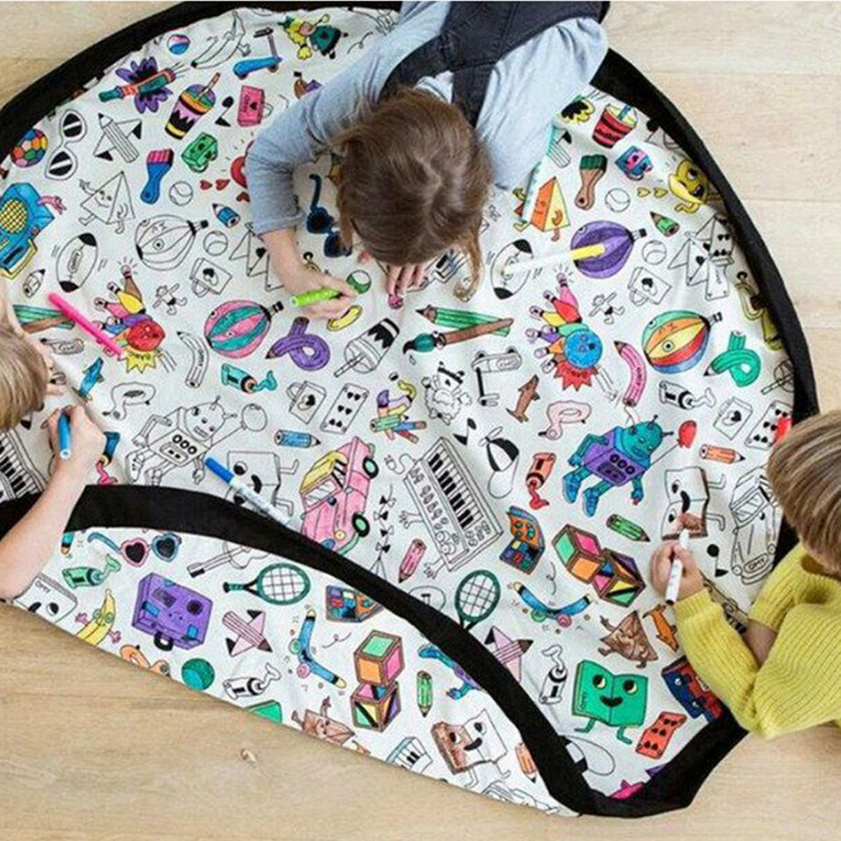 Doodling Play Mat Toy Storage Canvas Bag Durable Floor Activity Organizer Mat Large Drawstring Portable Container for Kids Toys