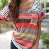Plus Size Women Casual Patchwork Stripe Short Sleeve T-shirts