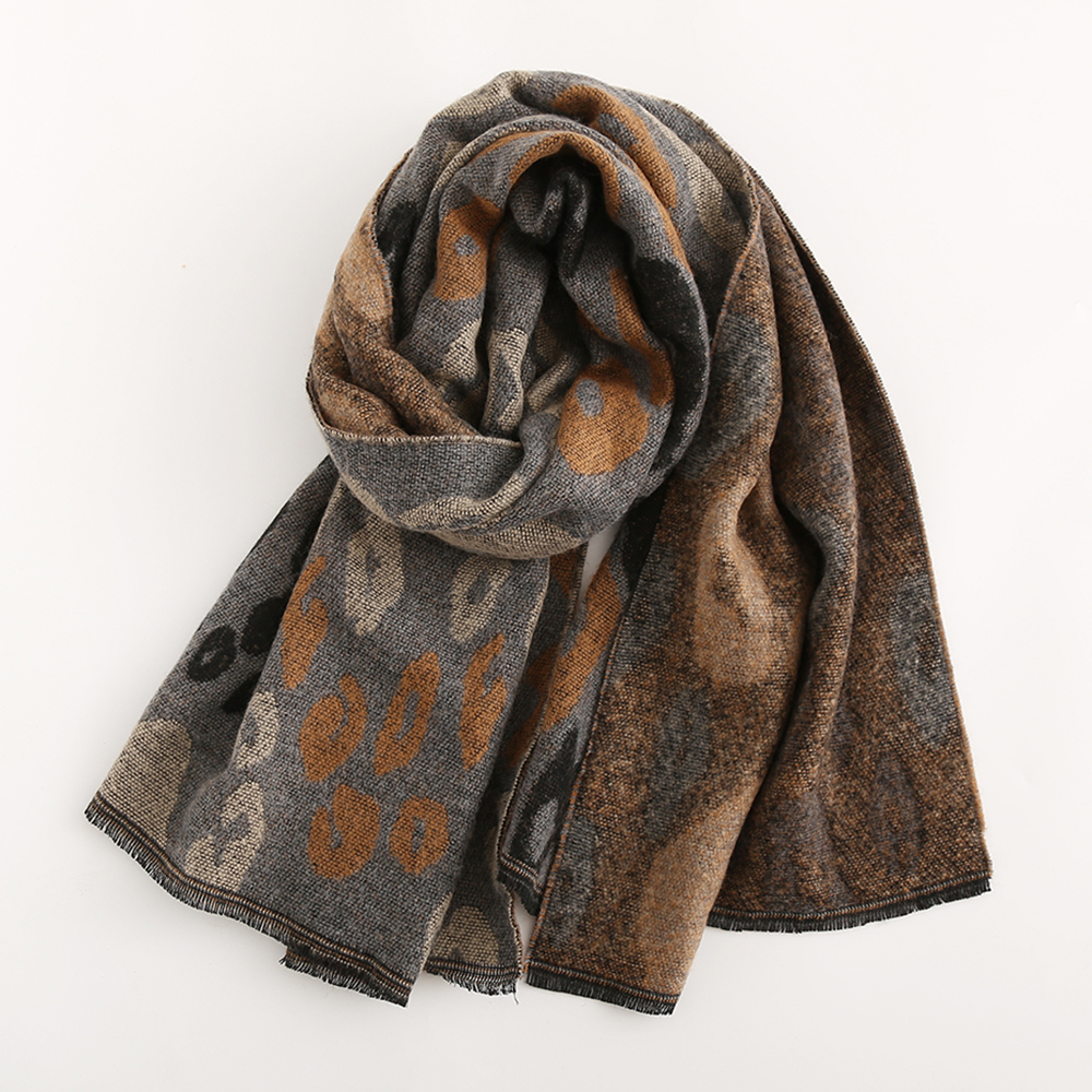 Women 200*66CM Leopard Soft Artificial Cashmere Scarf Winter Warm Long Shawl