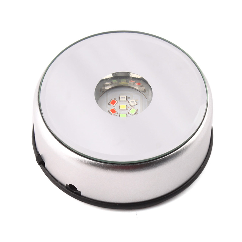 Unique Small Round Rotating Crystal Display Base Stand Holder 7 LED Light