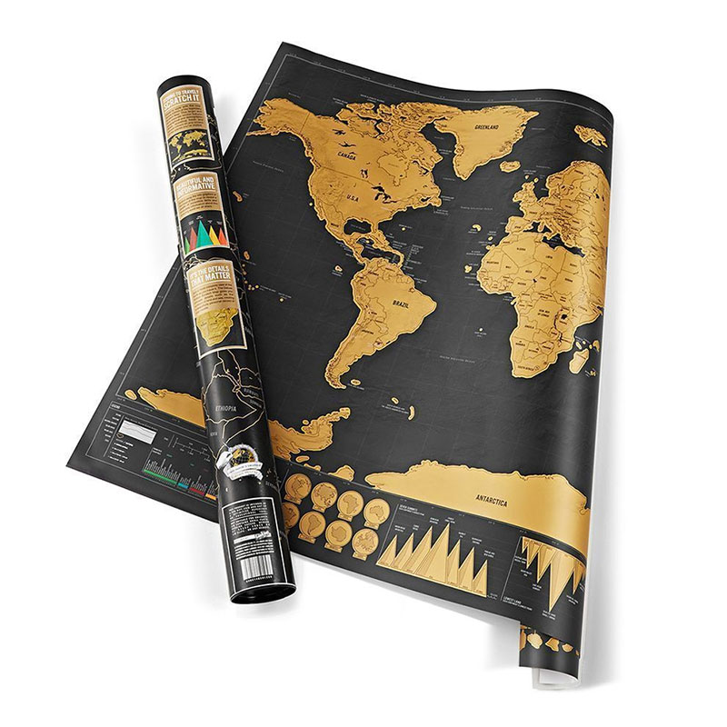 Scratch Off World Map Edition Travel Poster Personalized Journal Log Gift Tool