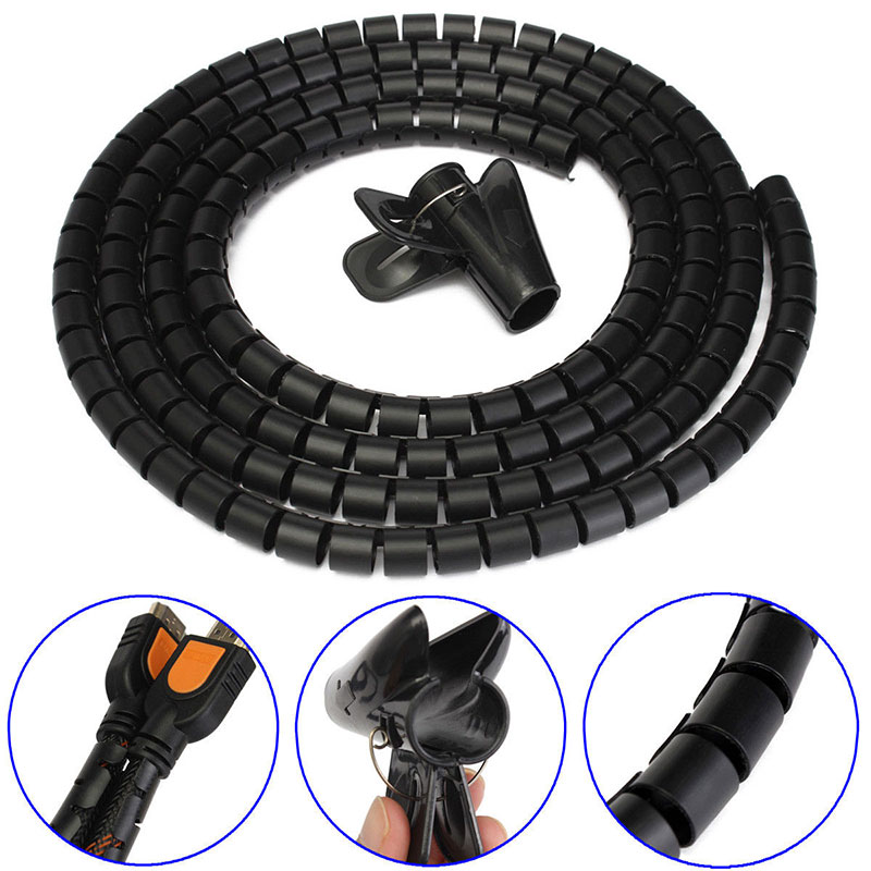 2 Metre Cable Tidy PC TV Wire Organising Office Home Spiral Wrap