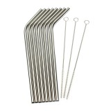 8Pcs Stainless Steel Metal Drinking Straw Reusable Straws + 3 Cleaner Brush Set