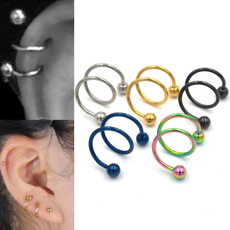 Punk Stainless Steel S Spiral Helix Ear Stud Lip Nose Ring Cartilage Piercing
