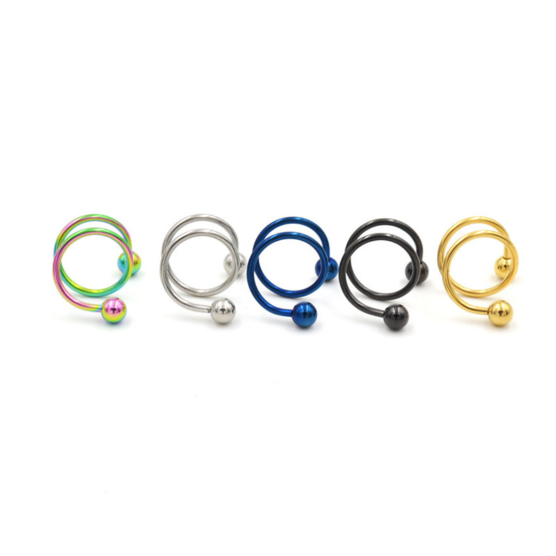 5 Pairs A Set Punk Stainless Steel S Spiral Helix Ear Stud Lip Nose Ring Cartilage Piercing