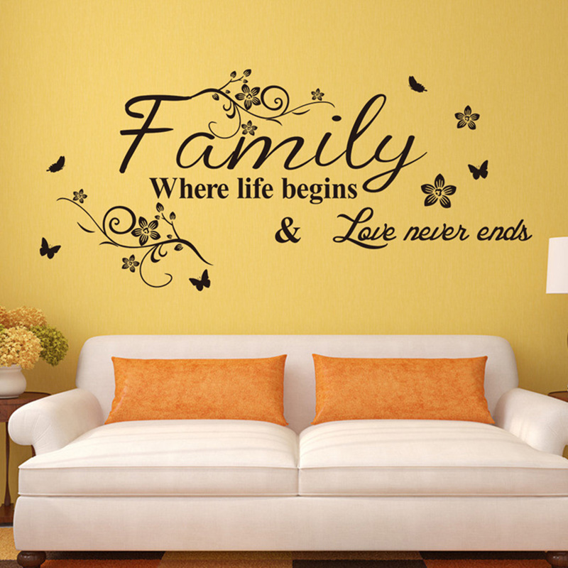 Black Words Pattern Design Decor PVC Life Family Dream Home Wall Sticker Love