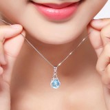 Women 925 Sterling Silver Sapphire Gemstone Pendant Chain Necklace Jewelry