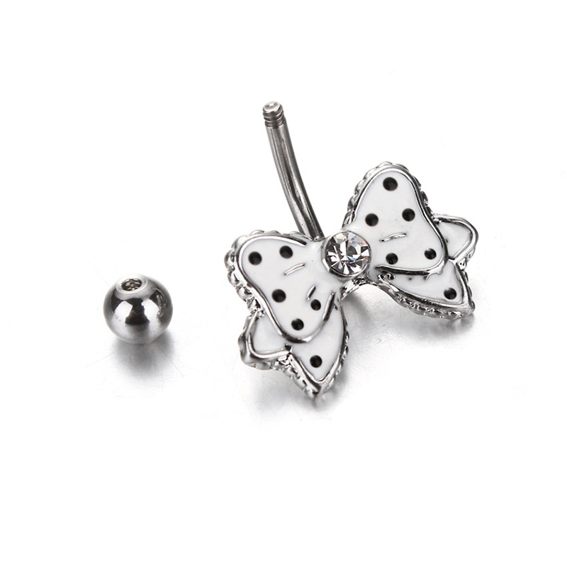 Black Dot White Bowknot Crystal Navel Belly Button Barbell Ring Body Piercing