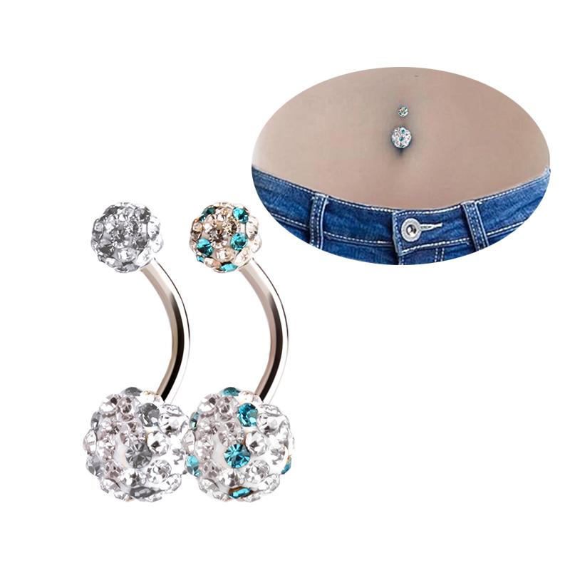 Pretty Crystal Rhinestone Ball Navel Belly Button Barbell Ring Body Piercing