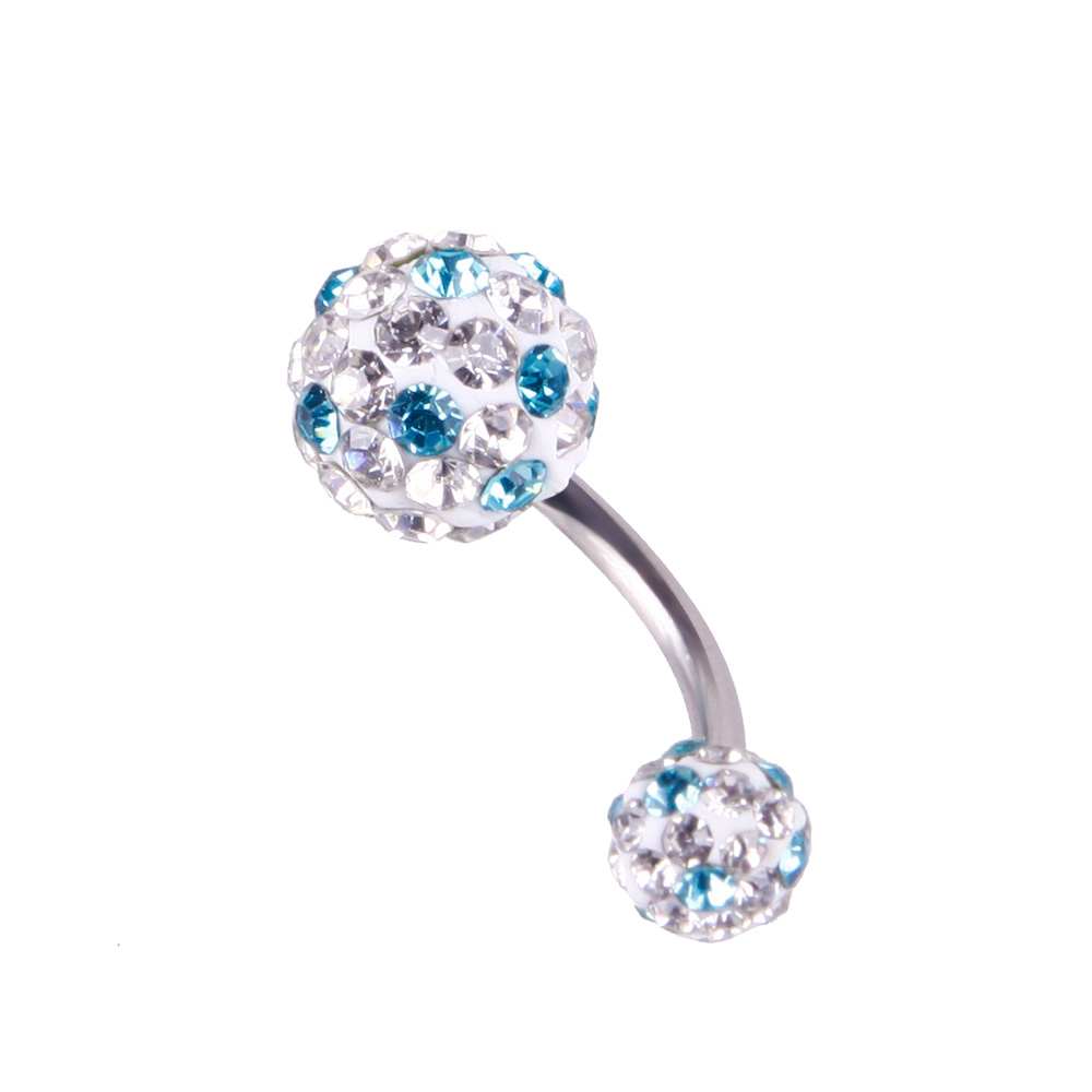 Pretty Crystal Rhinestone Ball Navel Belly Button Barbell -7284