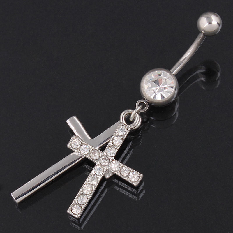 Rhinestone Double Cross Dangle Navel Belly Button Barbell Ring Body Piercing