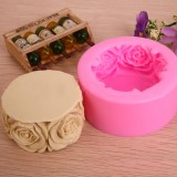 3D Silicone Rose Soap Mould Cake Chocolate Baking Mold Candle Pan DIY Tool Color Random