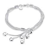 Fashion Jewelry 925 Sterling Silver Plated Hearts Tassel Pendant Wristband Bracelet