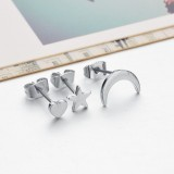 Fashion 3 Pcs/Set Moon Star Heart Love Ear Stud Gold Silver Plated Earrings Cute Jewelry